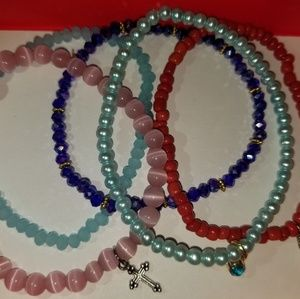 Jewelry - Four Hand-made single colored bracelets